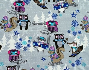 C163 - 145cmx100cm Cotton Fabric - Skiing - Owl, squirrel and tree