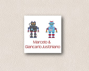 Robots Brothers Gift Tag - Personalized Gift Tags - PDF or Printed Gift Tags - Boys Calling Cards - Brothers or Twins