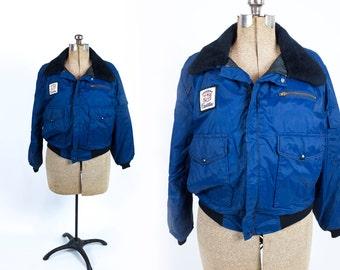 Vintage 1980s Navy Blue Nylon Cadillac Car Show Car Salesman Bomber Jacket Size M or L