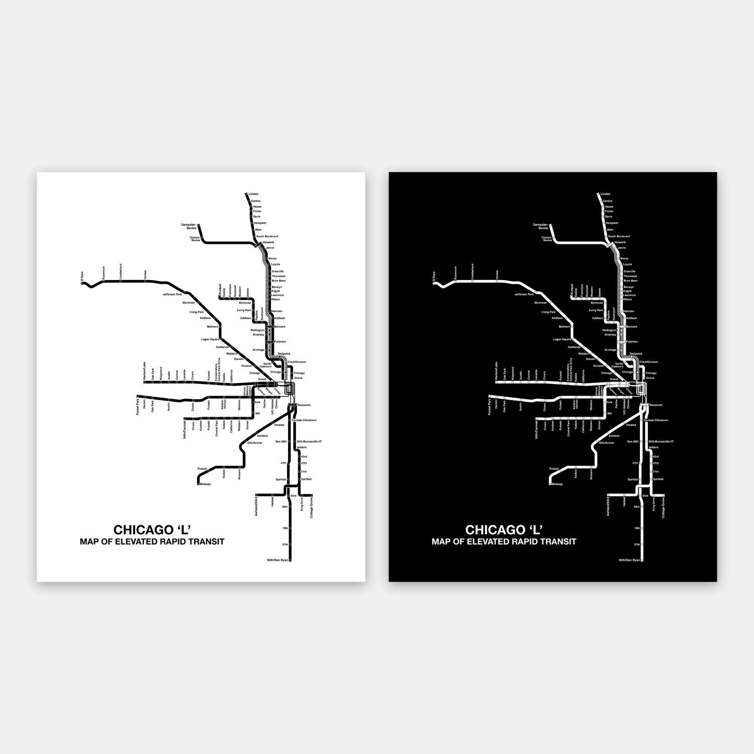 Chicago L Etsy - Chicago map etsy