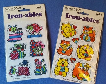 Crazy Cats Vintage Scratch & Sniff Iron-ables Iron ons, 1980s new in package NIP, geometric designs, scratch and sniff
