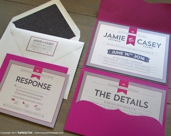 Pinstripes Modern Typography Wedding Invitation Sample | Flat or Pocket Fold Style