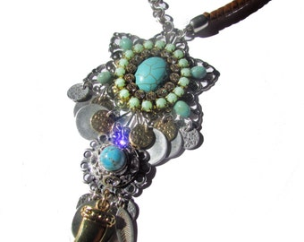 Long turquoise boho necklace (Ready to Ship)