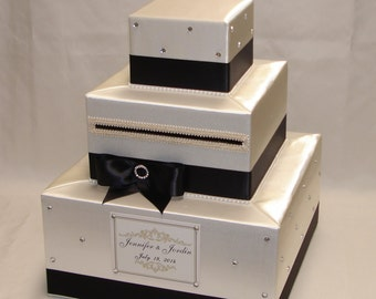 Ivory/Black Card Box-Rhinestone accents