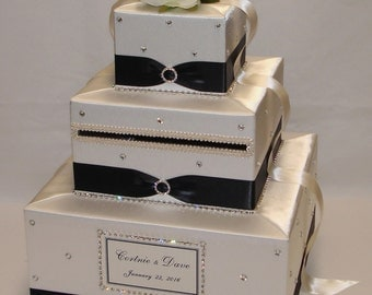 Ivory /Black Wedding Card Box-lots of BLING-Ivory Roses