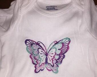 Embroidered Butterfly Onesie - Newborn