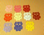 25 Assorted colors, YOU CHOOSE OWL  Hand punched die cuts, confetti 1 3/4 inches tall x 1 1/2 wide