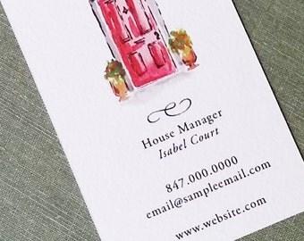 Front Door, Red Door, Real Estate Business Card - Set of 50