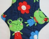 Kiki Mama Cloth Menstrual Pad Size Regular Frogs in Dresses and Flowers