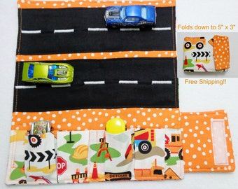 Construction Trucks and Tractor Print Car Wallet/ Car roll up/Toy car holder/ Free Shipping/ Ready to ship.