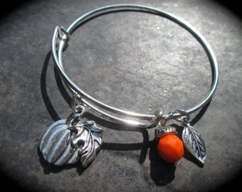 Halloween Fall Theme Adjustable Bangle Bracelet with Pumpkin and Leaf charms and Orange Dangle Charm Fall Jewelry