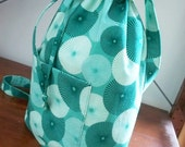 Bucket Bag Tote in Green Teal Fabric with Drawstring Closure and Cross Body Strap