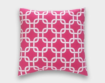 70% OFF CLEARANCE Candy Pink Chain Link Pillow Cover. 16X16 Inches. Hot Pink and White Decorative Pillow.