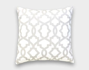 French Grey Sheffield Pillow Cover. Geometric Pattern. Pick a Size. Gray Cushion Cover.