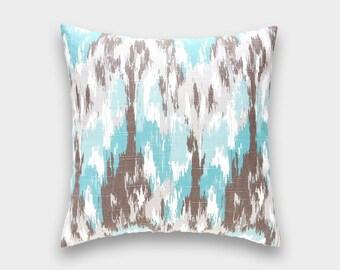Aqua Blue and Brown Ikat. Decorative Pillow Cover. 16x16, 18x18, 20x20 or Lumbar. Ikat Craze Throw Pillow Cover.