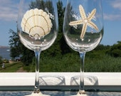 Beach themed hand painted wine glasses