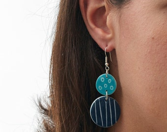 Navy Pebble Drop Porcelain Earrings