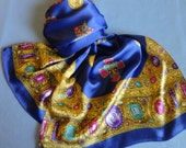 """VINTAGE Scarf -  Georgeous 60"""" long rich Blue, silk or silk blend, satiny, Beautiful gold border, scattered Jewels & Pendants, 14"""" wide"""