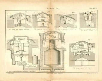 1800s Vintage Technical Drawing Casemate Fortified Building
