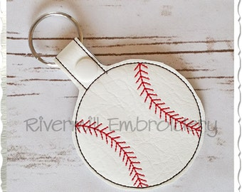 Baseball or Softball In The Hoop Snap Tab Key Fob Machine Embroidery Design