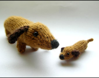 PATTERN ONLY Mommy and Baby Dachshund wiener dog puppy Knitting PDF instructions
