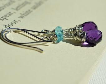 Amethyst Earrings, Blue Apatite Earrings, Purple Gemstone Earrings, Blue Purple Earrings, Sterling Earrings, Wire Wrapped Briolette February