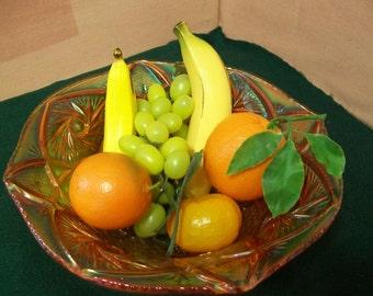 Blood Orange Carnival Glass Pinwheel & Star Pattern Bowl