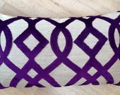 LATTICE  ACCENT Purple & Linen velvet cushion cover, in Osborne and Little Du Barry lattice Imperial / Royal / Empire PURPLE cushion cover