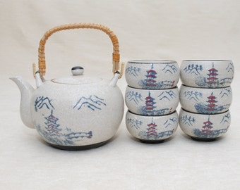 Japanese Tea Set: Tea Pot & Six Cups, Stoneware, Bamboo Handle, Pagoda Temple Design, Beautiful Set, Makes a Great Gift, Tea Party Ceremony