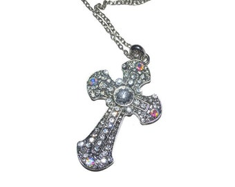 Necklace  Rhinestone Christian Cross Easter Gifts Mothers Day Unique Gifts for Her Sparkling Rhinestone Cross Necklace