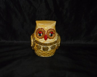 Vintage Yellow Brown Red Ceramic Owl Bank Coin Piggy Bank 1970s Bird Kitch