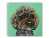 "6x6x0.75"" Custom Dog Portrait / Custom Pet Art / custom portrait - 1 Pet Close-Up Solid background Original Painting Acrylic on Canvas"