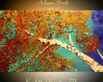 "Oil Landscape painting Abstract Original Modern 48"" palette knife Birch Trees oil  impasto oil painting by Nicolette Vaughan Horner"
