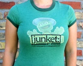 Women's Upcycled Tee - Junket : Tossed and Found, reused, repurposed, reprinted, Mystery T-shirt, Choose Your Size