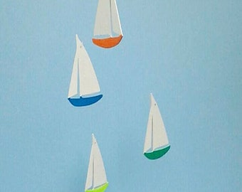 SAILBOAT MOBILE,F42,Multi, Baby Mobile,Rainbow,Boat,Kinetic Mobile,Kid Mobile,Wood Sailboat,Nautical Mobile,Wooden Sail Boat Mobile,Nursery