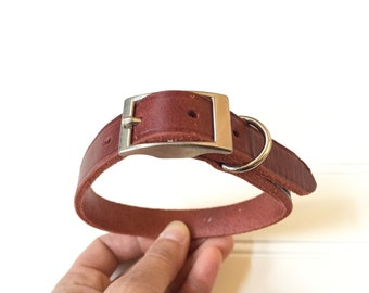 Leather Dog Collar - Red Collar for Dog - Leather Collar - Silver Buckle Hardware