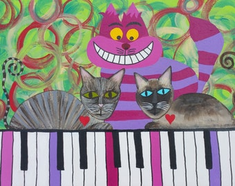 Kerri Ambrosino Mexican Folk Art PRINT Cheshire Cat Piano Alice