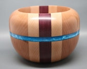 Handcrafted Segmented Wooden Bowl made from Three Different Woods with Bright Blue Pearl Resin Inlay - Collectible Modern Art, Wedding Gift