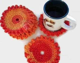 Set of 6 Crocheted coasters, Halloween coasters, Eco Friendly Coasters, Red Yellow Orange coasters, crocheted coaster set of 6