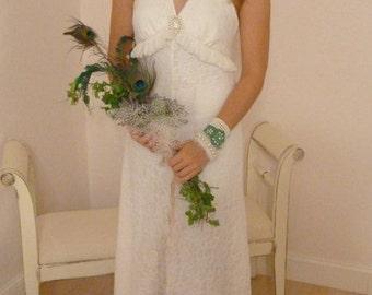 Boho Wedding Dress Vintage Halter Style Lace Bohemian Hippie Beach