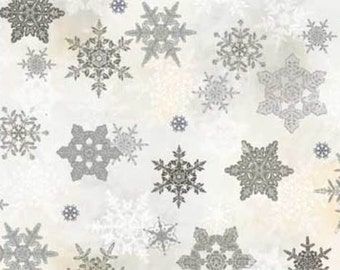 WINTER CELEBRATION Red Rooster Christmas quilters cotton fabric by the 1/2 yard grey gray silver snowflakes on white 25201-gry1