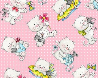 MISS KITTY'S Colors Henry Glass  quilters cotton fabric by the half yard tossed kittens cats on pink 6412-22
