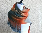 Hand woven long scarf, pashmina scarf, gradient color teal beige gray orange, gift for her, long with fringe