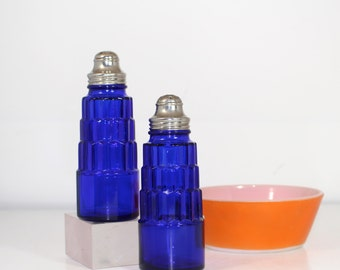 Hazel Atlas Cobalt Cube Salt and Pepper Shakers