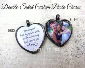 Double Sided Custom Photo Heart Necklace - Adoption Necklace - Adoption Quote Jewelry - Custom Photo Jewelry - Adoption Charm - Heart Charm