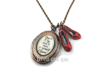 Wizard of Oz Locket Ruby Slippers - Don't Cry You'll Rust Yourself Again Oz Quote Jewelry Charm - Going Away Gift