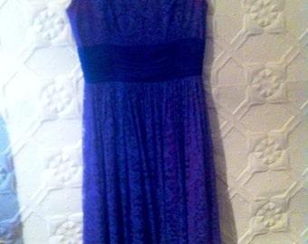 Superb purple 1960s lace cocktail dress.