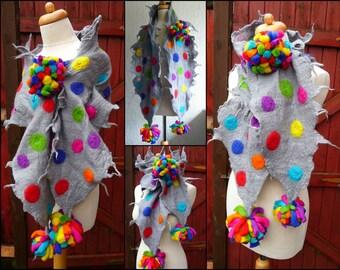 felted wool scarf, scarves, wrap, handmade, felt, lagenlook, art to wear, rainbow, MADE TO ORDER