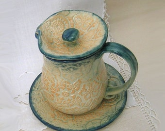 Hand Thrown Stoneware Syrup Pitcher, Lidded Creamer with Saucer, Hot Chocolate, Lace Texture, Navy Blue, Cream, Pale Orange