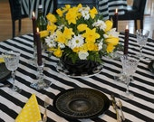 Navy Blue and White Stripe table square / overlay - SELECT A SIZE